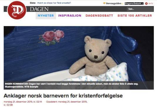 cotidianul norvegian Dagen despre cazul fam. Bodnariu Photo Agnus Dei