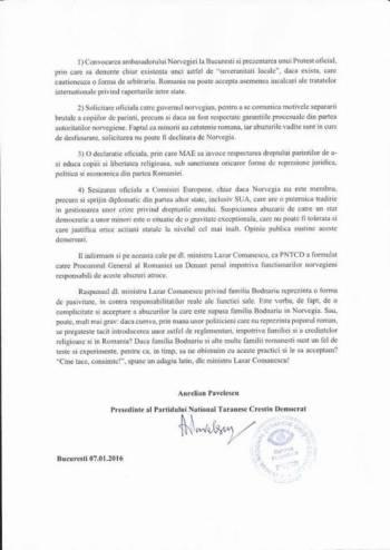 PNTCD 2 Comunicat Aurelian Pavelescu Cazul Bodnariu
