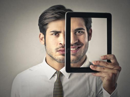 two-faces-businessman-holding-tablet-looks-like-frame-divides-his-face-halves-one-smiling-other-46936415